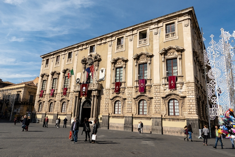The Palazzo degli Elefanti which serves as a town hall of Catania city. It is decorated because of the Festival of Saint Agatha.